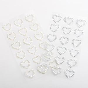1.8cm Pearl Hearts - 18 Pack Craft Stickers - Button Blue Crafts