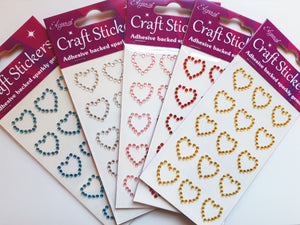 Red 1.8cm Diamante Hearts - 15 Pack Rhinestone Craft Stickers