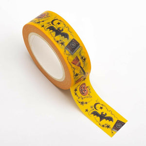 Yellow - Halloween Themed Washi Tape 15mm x 10m Repositionable Low Tack Adhesive Roll