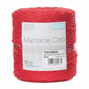 Macrame Cord - Red- Full Reel - 100% Natural Cotton UK Made