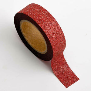 Red - Glitter Washi Tape 15mm x 10m Repositionable Adhesive Roll