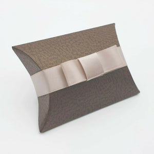Brown - Leather Effect - Pillow Shaped Jewellery Wedding Gift Favour Boxes - With or Without Ribbon & Bow