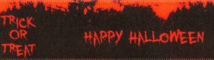 Berisfords Trick or Treat Happy Halloween Neon Orange Satin 25mm Ribbon