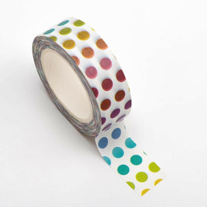 Colourful Dots Washi Tape - 15mm x 10m Re-positional Adhesive Roll - Paper Crafts, Decoration, Gift Wrapping