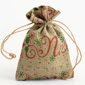 Noel - Drawstring Favour Bags 1, 5 or 10 Pack Wedding Christmas - Hessian Bag