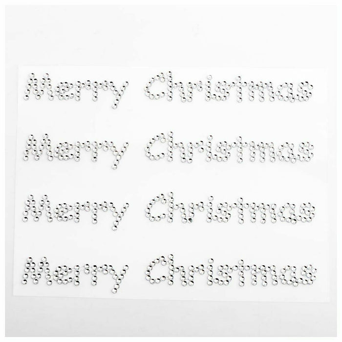 Clear Diamante Rhinestone Merry Christmas Stickers - Diamante Crystal Self Adhesive Embellishments