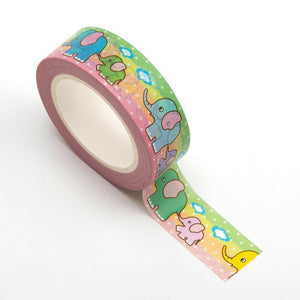 Cute Elephants Washi Tape - 15mm x 10m Re-positional Adhesive Roll - Paper Crafts, Decoration, Gift Wrapping