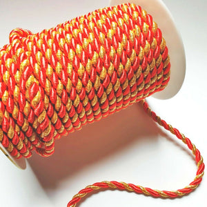 Metallic Gold And Red- 6mm Satin Twisted Barley Braid Cord Rope Trim - Upholstery Xmas