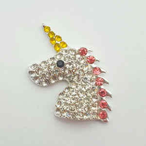 Unicorn Christmas Button x 1 - Festive Diamante Loose Shank Back Xmas Buttons
