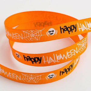 Halloween Ribbon Grosgrain 9mm x 5m Craft Gifts Lanyard Collar Spiders Bats