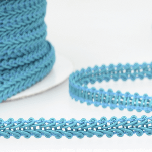 Dark Turquoise - Stephanoise 6mm Gimp Braid Scroll Trim - Upholstery Dress Costume
