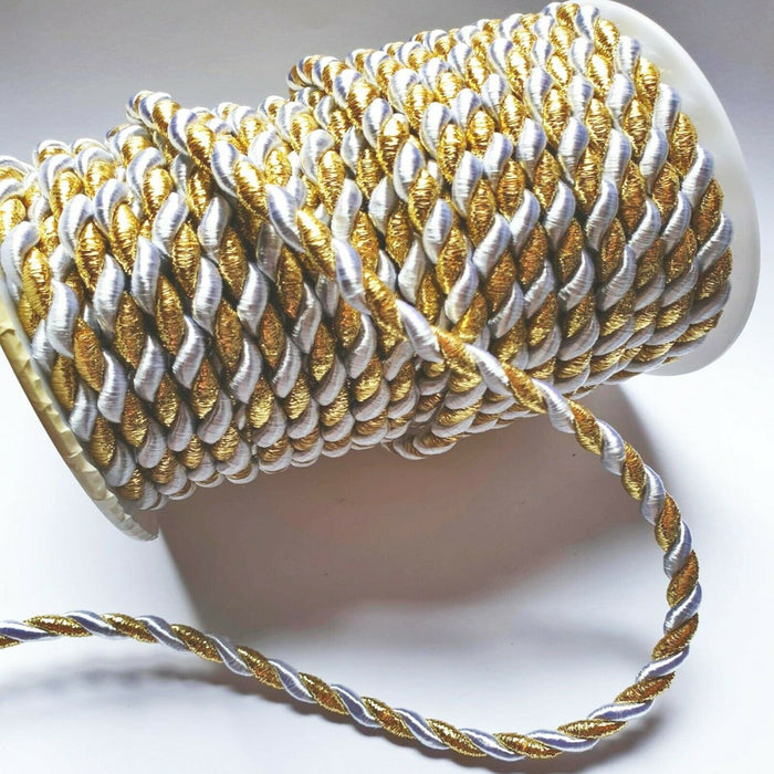 Metallic Gold And White- 6mm Satin Twisted Barley Braid Cord Rope Trim - Upholstery Xmas