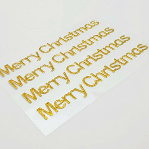 Gold Glitter Merry Christmas Stickers - Glitter Effect Self Adhesive Embellishments