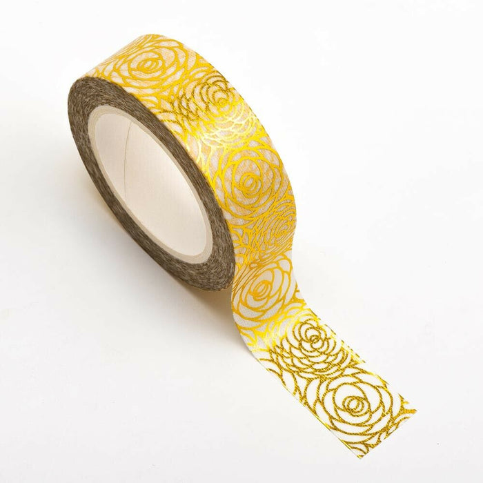 Floral Roses In Gold Washi Tape - 15mm x 10m Re-positional Adhesive Roll - Paper Crafts, Decoration, Gift Wrapping
