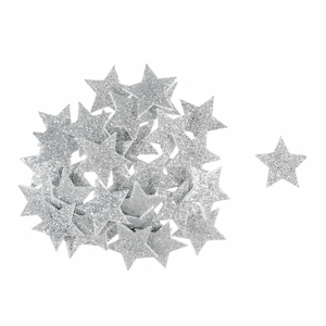 Silver Glitter Star Embellishments - 35 x Self Adhesive Foam Shapes - Christmas Crafts