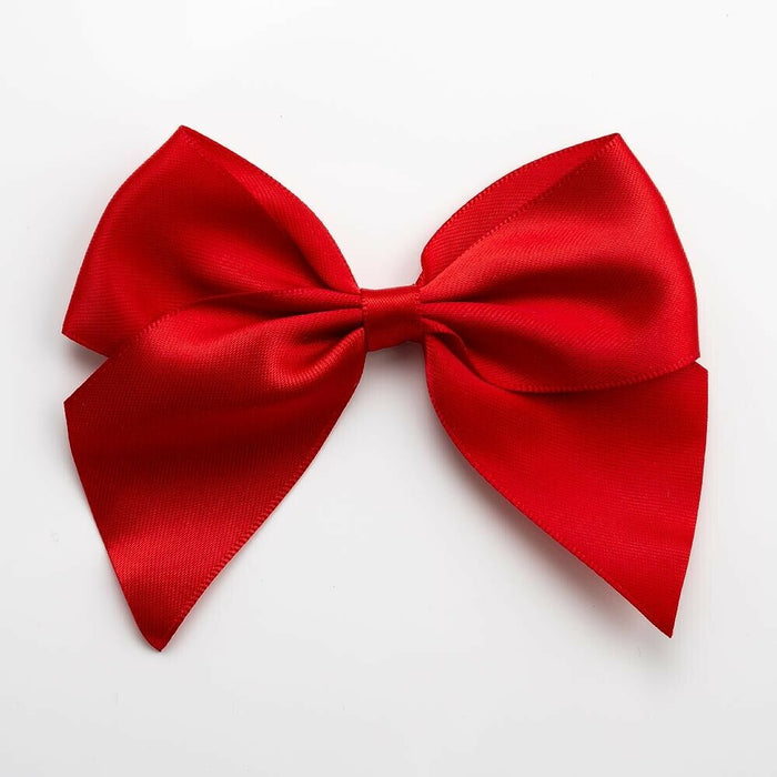 Red - Self Adhesive Pre Tied Bows - 10cm x 38mm Satin Ribbon