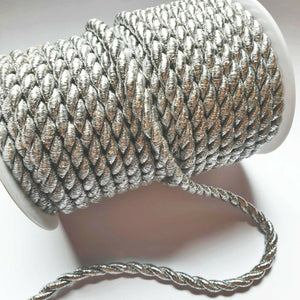 Metallic Silver- 6mm Satin Twisted Barley Braid Cord Rope Trim - Upholstery Xmas