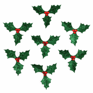 7 Pack Self Adhesive Glitter Holly Leaves - Christmas Craft Embellishments