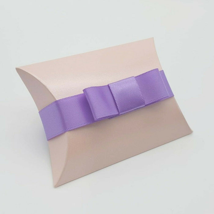 Pearlised - Pale Pink - Leather Effect - Pillow Shaped Jewellery Wedding Gift Favour Boxes - With or Without Ribbon & Bow