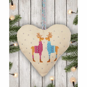 Reindeer - Anchor Christmas Decoration - Snowman Reindeer Heart Counted Cross Stitch Kit