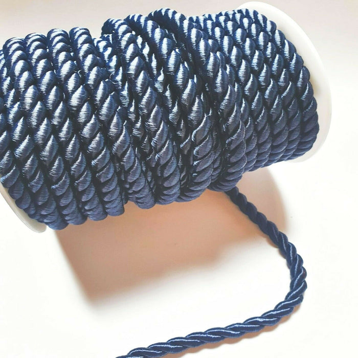 Navy Blue - 6mm Satin Twisted Barley Braid Cord Rope Trim - Upholstery Xmas