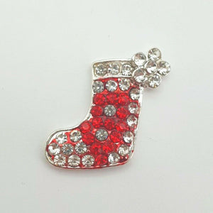 Stocking Christmas Button x 1 - Festive Diamante Loose Shank Back Xmas Buttons