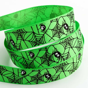 Spider Web Green Halloween Ribbon Grosgrain 16mm x 5m Craft Gifts Lanyard Collar