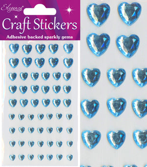 Blue Diamante Hearts - 56 Pack Rhinestone Craft Stickers - Button Blue Crafts