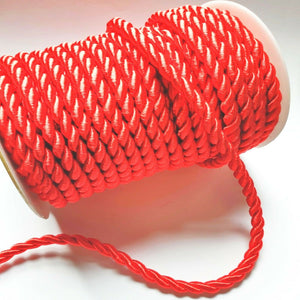 Red - 6mm Satin Twisted Barley Braid Cord Rope Trim - Upholstery Xmas