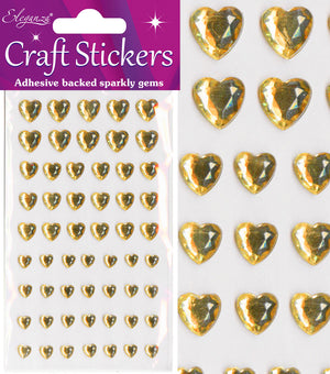 Gold Diamante Hearts - 56 Pack Rhinestone Craft Stickers - Button Blue Crafts