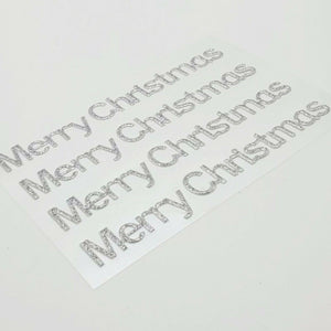 Silver Glitter Merry Christmas Stickers - Glitter Effect Self Adhesive Embellishments