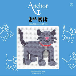 Poppy The Cat- Anchor Counted Cross Stitch Kit - Children / Beginners Cross Stitch Kit - 1st Kit