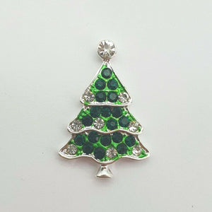 Christmas Tree Christmas Button x 1 - Festive Diamante Loose Shank Back Xmas Buttons