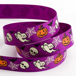 Spider Web, Ghost, Skull Halloween Ribbon Grosgrain 16mm x 5m Craft Gifts Lanyard Collar