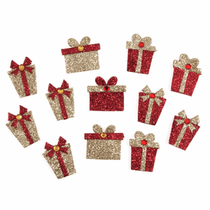 12 Mini Red & Gold Glitter Presents Self Adhesive Christmas Craft Embellishments