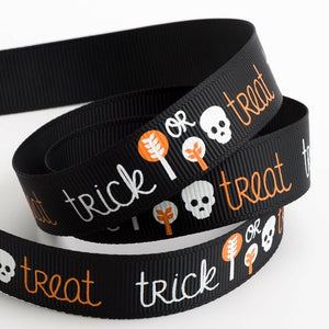 Trick Or Treat Halloween Ribbon Grosgrain 16mm x 5m Craft Gifts Lanyard Collar