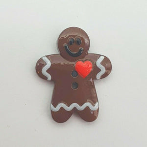 Gingerbread Man Christmas Buttons - Festive Loose 2 Hole Flat Back Xmas Buttons
