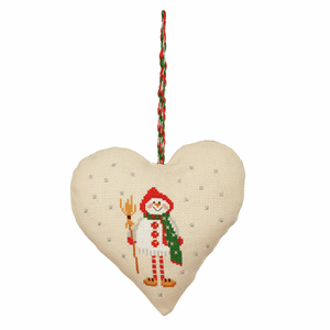 Snowman - Anchor Christmas Decoration - Snowman Reindeer Heart Counted Cross Stitch Kit
