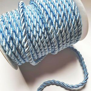 Baby Blue - 6mm Satin Twisted Barley Braid Cord Rope Trim - Upholstery Xmas