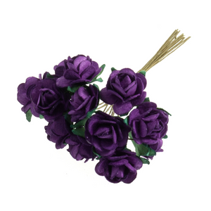Violet Purple 1.5cm Miniature Paper Tea Roses - Bunch of 12 Stems