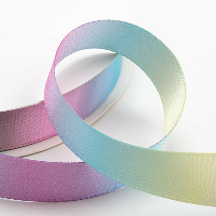 38mm Pastel Rainbow Ribbon Double Sided Satin - Fantasy Unicorn, Card Making, Crafts, Scrapbooking