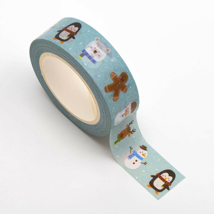 Cute Characters - Christmas Themed Washi Tape - 15mm x 10m Re-positional Adhesive Roll - Paper Crafts, Christmas Decoration, Gift Wrapping