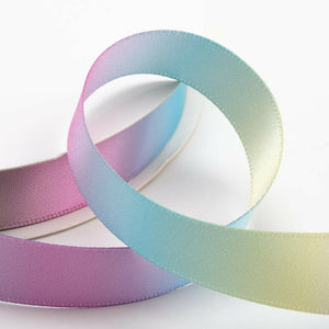 25mm Pastel Rainbow Ribbon Double Sided Satin - Fantasy Unicorn, Card Making, Crafts, Scrapbooking