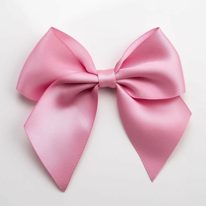 Antique Pink- Self Adhesive Pre Tied Bows - 10cm x 38mm Satin Ribbon