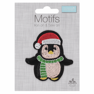 Penguin Christmas Craft Motif - Iron On & Sew On Festive Applique - Xmas Patch