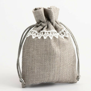 Grey With Lace - Drawstring Favour Bags 1, 5 or 10 Pack Wedding Christmas Favours - Linen Bag