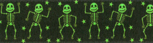 Berisfords Halloween Dancing Skeletons Neon Green Satin 25mm Ribbon