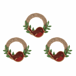 Robins on a Wreath Self Adhesive Christmas Craft Embellishments - 3 Pack