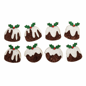 8 x Mini Glitter Xmas Puddings Self Adhesive Christmas Craft Embellishments