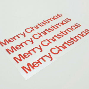 Red Glitter Merry Christmas Stickers - Glitter Effect Self Adhesive Embellishments